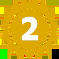 icono de medalla con un 2 dentro